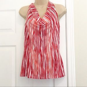 Tart red and white cowl neck tank